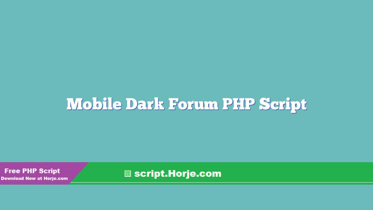 Mobile Dark Forum PHP Script