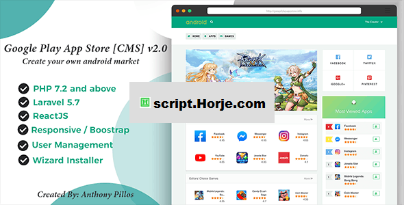 Google Play App Store [CMS] v2.0.8 PHP Script