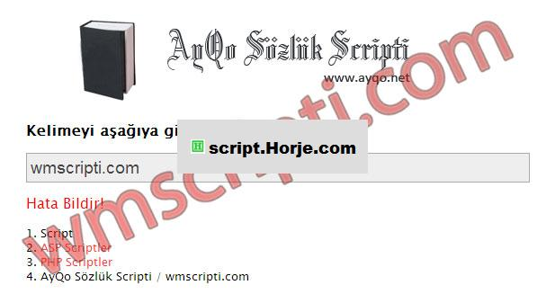 AyQo Dictionary PHP Script