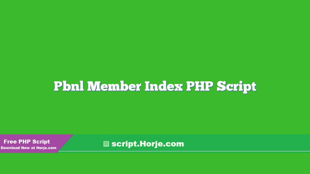 Pbnl Member Index PHP Script