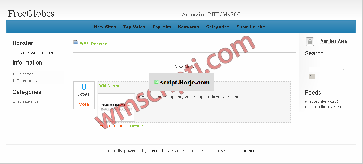 FreeGlobes Directory PHP Script