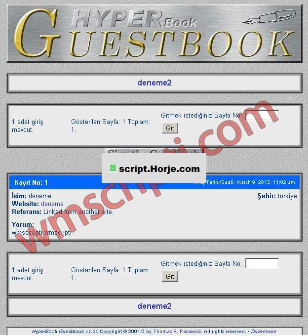 Hyperbook v1.30 Guest Book PHP Script