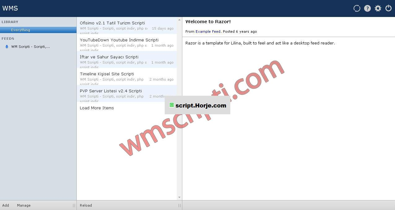Lilina v1.0 RSS Feed PHP Script