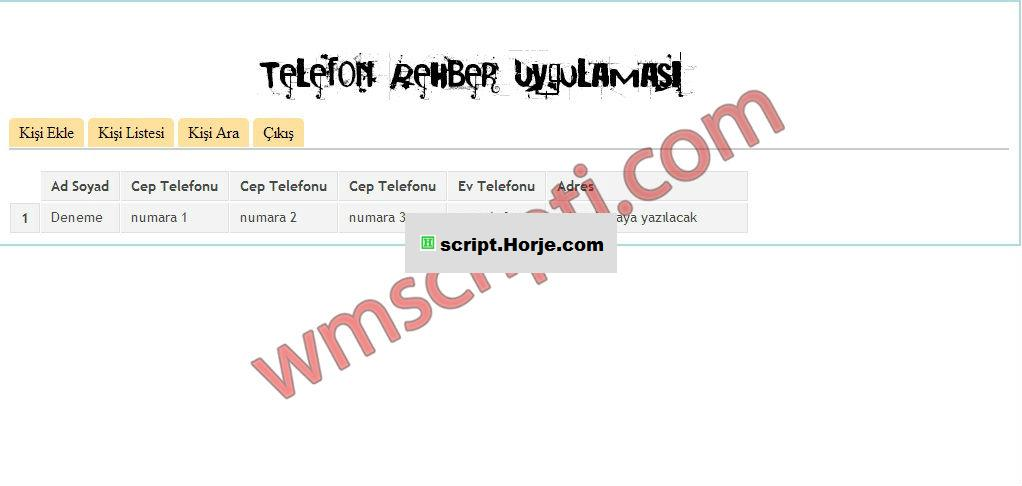 PHP Phone Book PHP Script