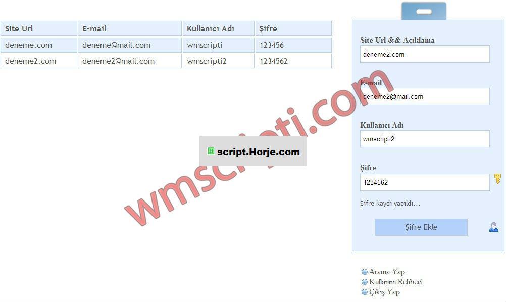 PHP Password Management PHP Script