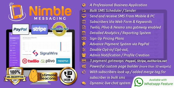 Nimble Messaging v1.5.1 – Professional SMS Marketing Application For Business – nulled PHP Script