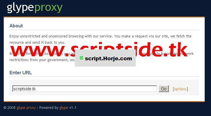 Glype v1.1 Proxy PHP Script