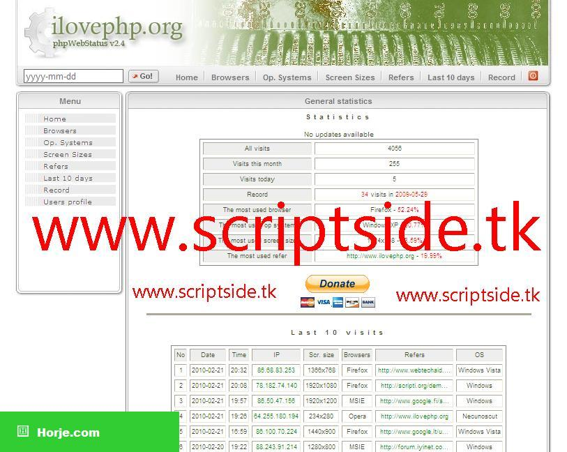 php Web Status Counter PHP Script