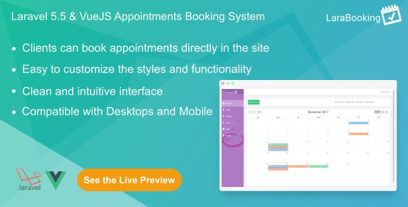 LaraBooking v1.0.1 – Laravel Appointments Booking System PHP Script