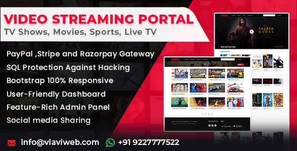 Video Streaming Portal v1.1.0 (TV Shows, Movies, Sports, Videos Streaming, Live TV) – nulled PHP Script