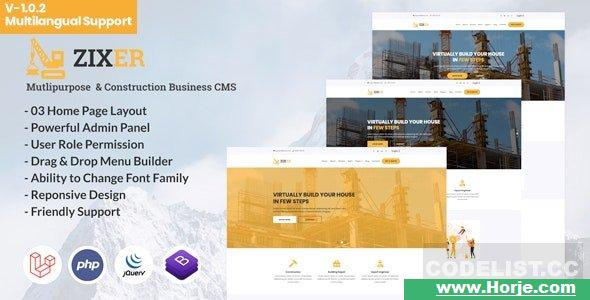 Zixer v1.0.2 – Multipurpose Website & Construction Business Company CMS – nulled PHP Script