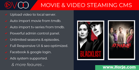 OVOO v2.2 – Movie & Video Streaming CMS with Unlimited TV-Series PHP Script – Download Nulled