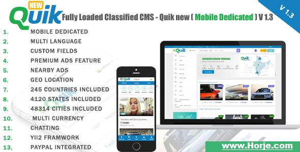 Quik new v1.3 – Fully Loaded Classified Ads CMS PHP Script – Download Nulled