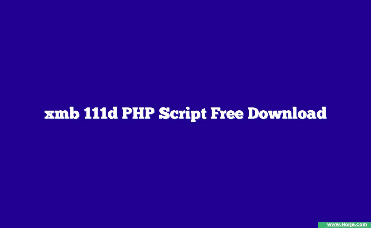 xmb 111d PHP Script Free Download